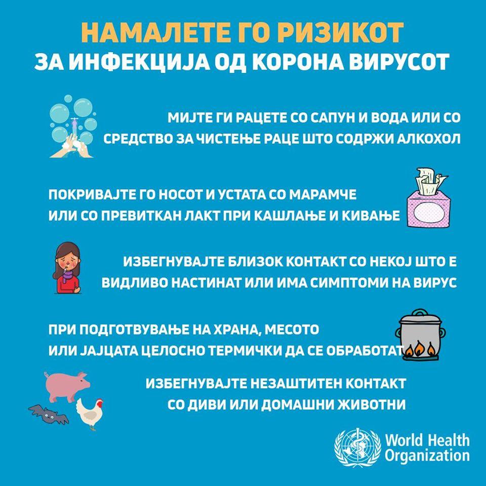 Препораки од СЗО за превенција од корона вирусот
